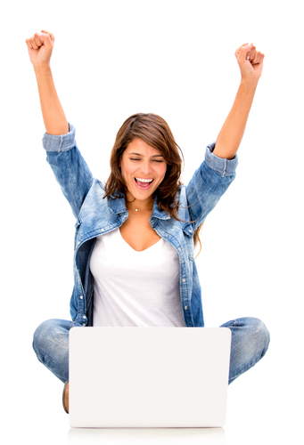 Happy woman with a computer - isolated over a white background